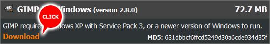 公式サイトからGIMP2.8をダウンロードする
