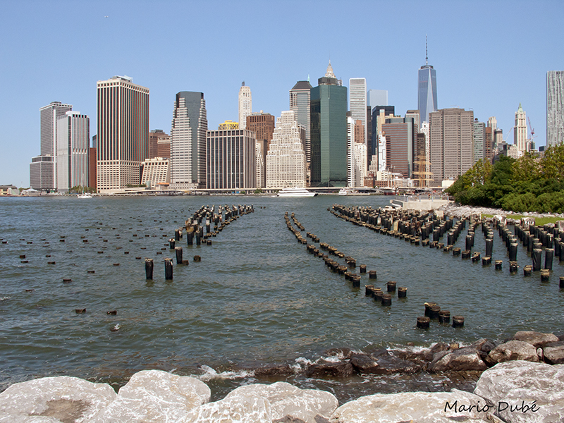 La vue sur Manhattan depuis la rive du Brooklyn Bridge Park