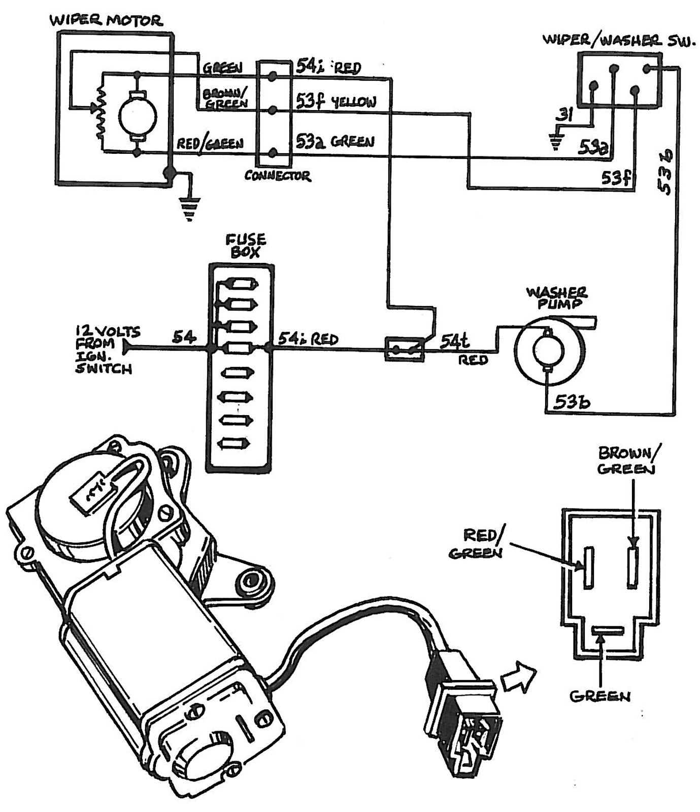 3 wire electric motor wiring diagram saab journal: early windshield wiper motor rebuild 3 wire wiper motor wiring diagram