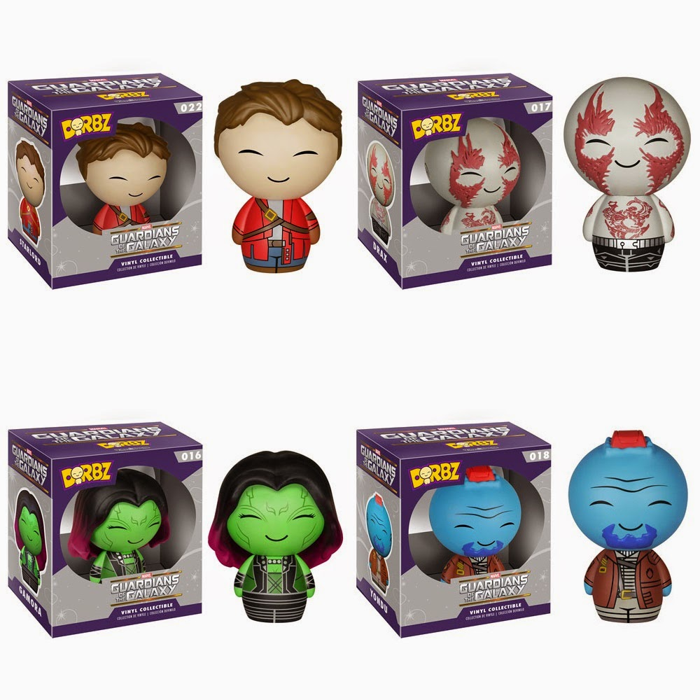 Guardians of the Galaxy Dorbz Vinyl Figure Series by Funko - Star-Lord, Drax, Gamora & Yondu