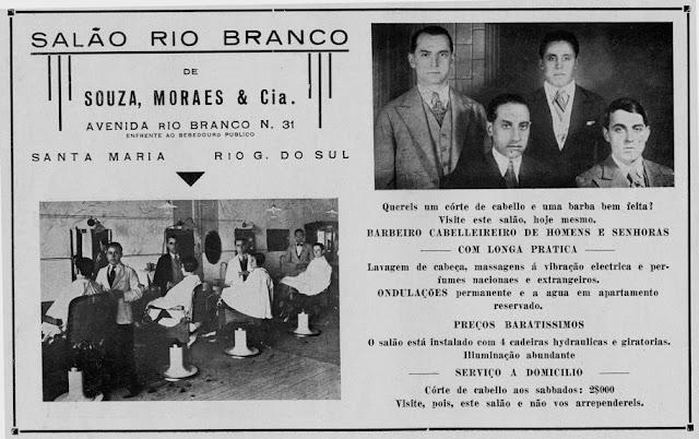 Propaganda do Salão Rio Branco em 1933: cuidado e beleza do homem.