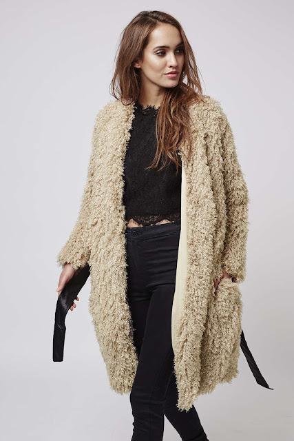 goldie shaggy fur coat, cream goldie coat, shaggy fur beige coat,