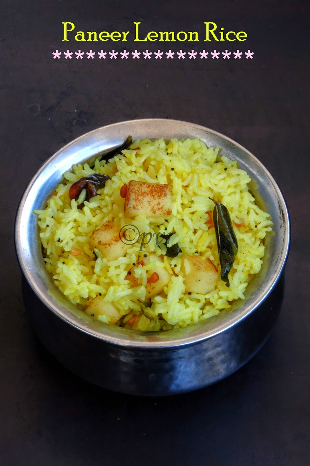 Paneer lemon rice, Lemon rice with paneer cubes