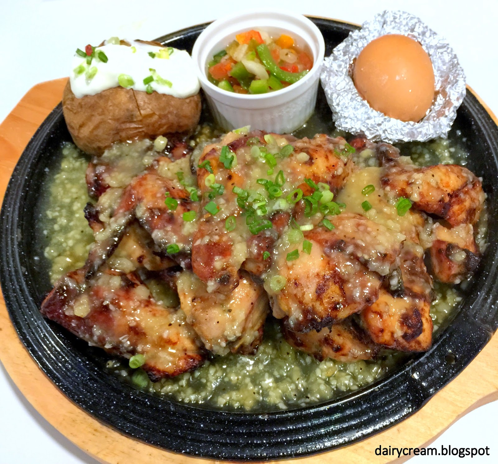 Garlic Roasted Chicken served with Salt Baked Egg, Salsa, Baked Potato ...