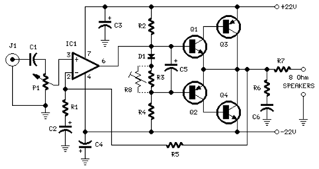 18 Watt Audio Amplifier circuit diagram