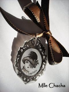 Mlle chacha, bandeau, col écharpe, turban, français, fait main, romantique, bohème,collier, pendentif,vintage rétro, cadeau, tour de cou