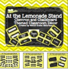 http://www.teacherspayteachers.com/Product/Classroom-Decor-At-the-Lemonade-Stand-Chalkboard-and-Chevron-Themed-760756