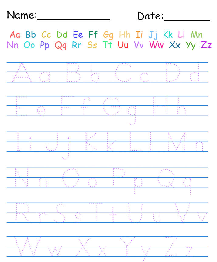 kindergarten handwriting template