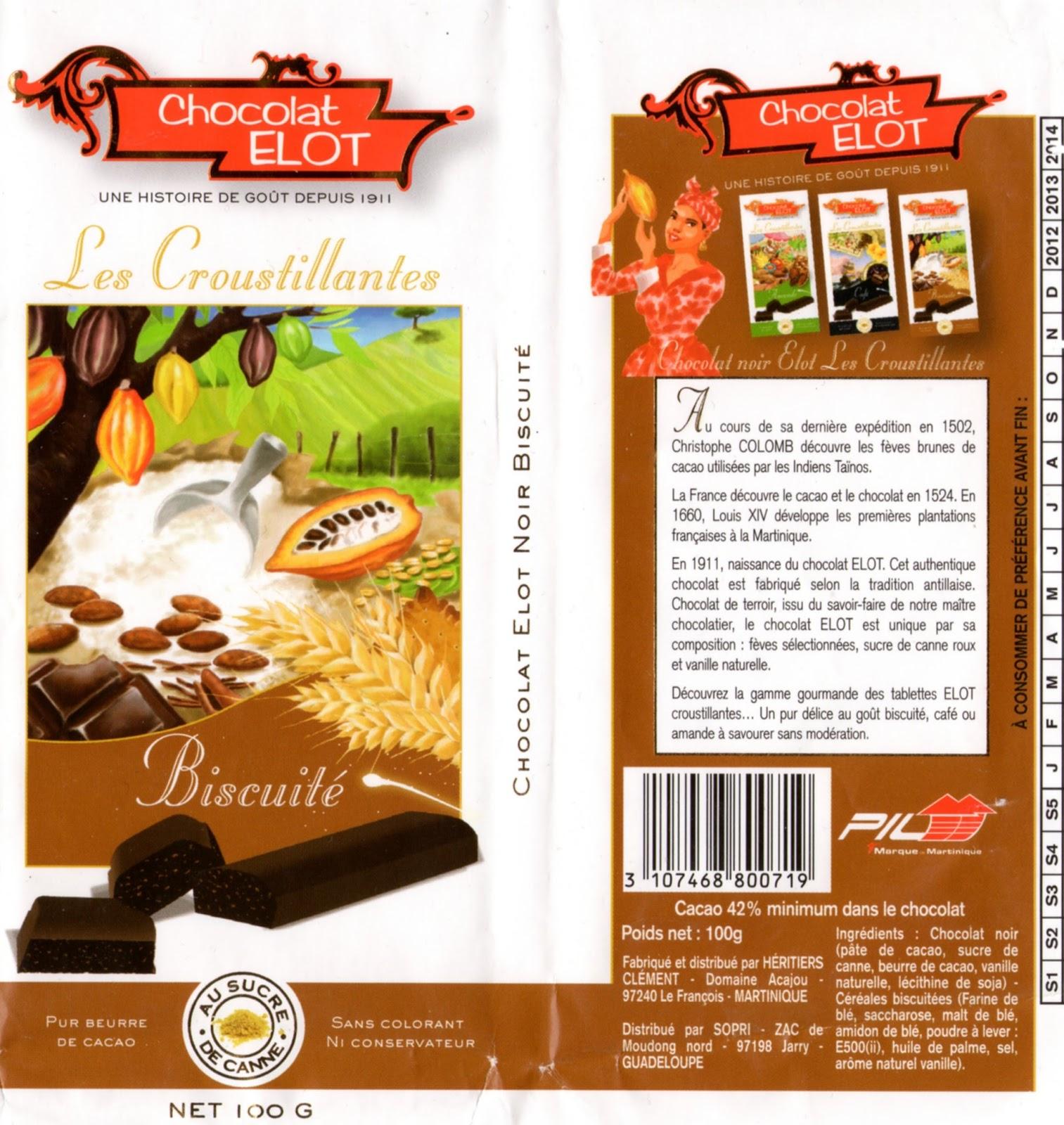 tablette de chocolat noir gourmand elot les croustillantes noir biscuité