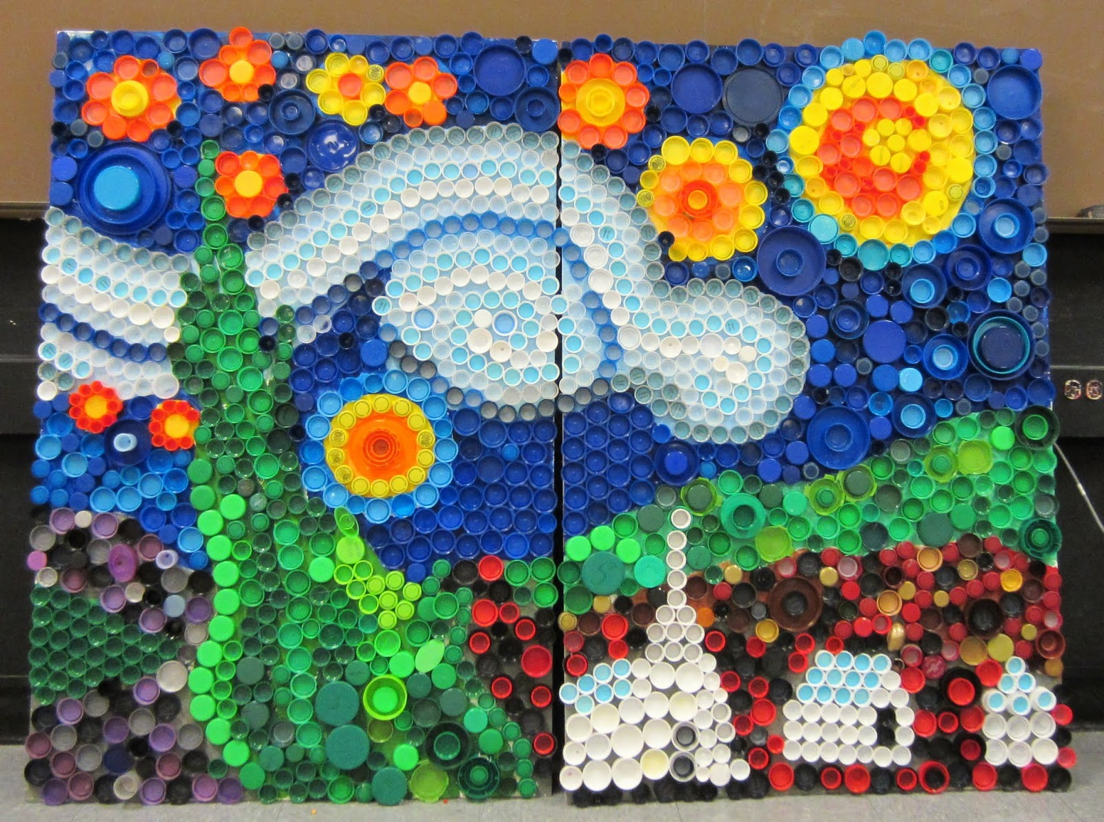 Mrs art teacher every cap counts our bottle cap mural for Waste material craft work with bottles