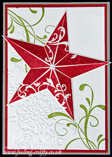 Christmas Star Card by UK Stampin' Up! Demo Bekka Prideaux - lots of great ideas on her blog - check it out!