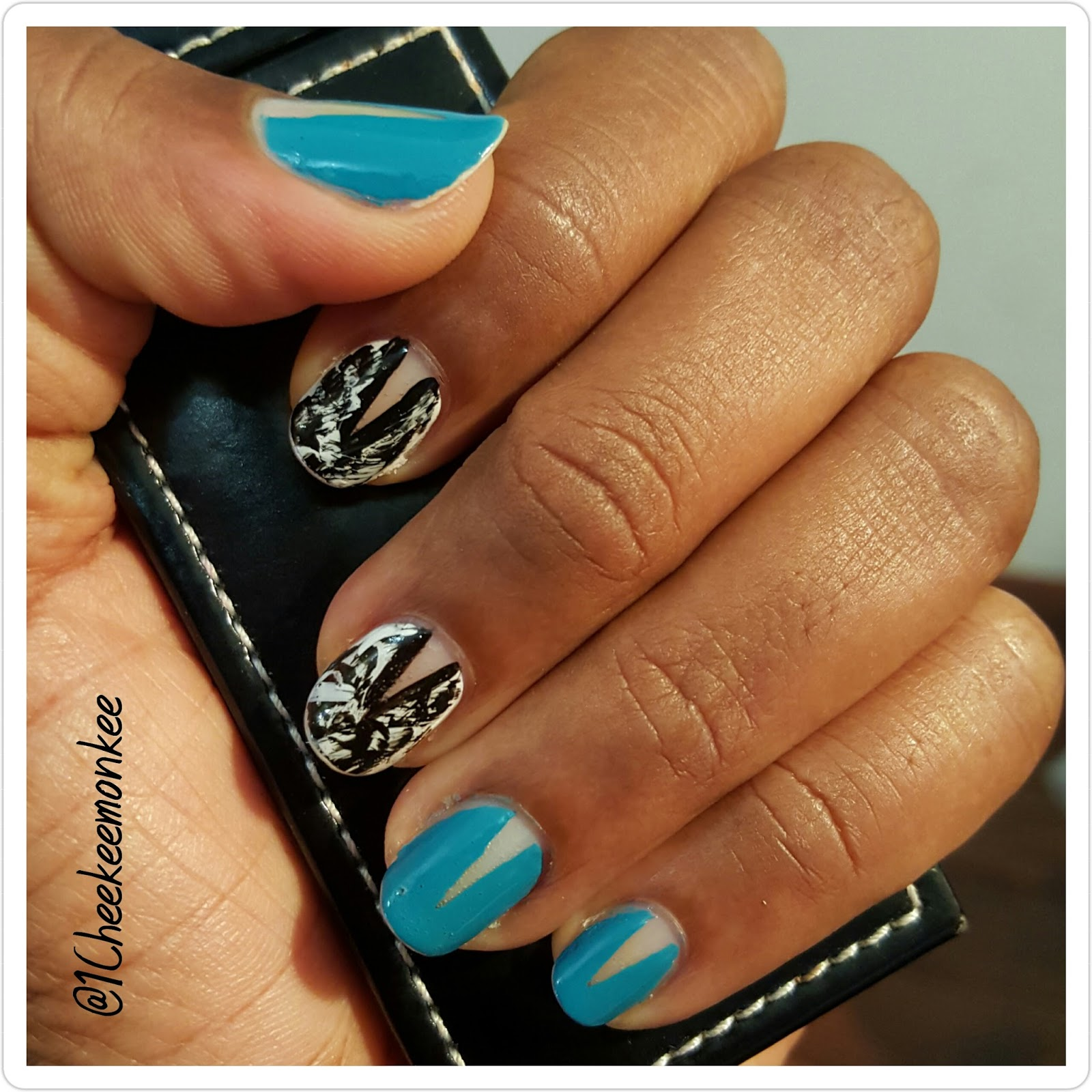 Nail Cake Blue Black Splodges Cow Print: Moo-nicure: Cow Print Dry Brush Mani