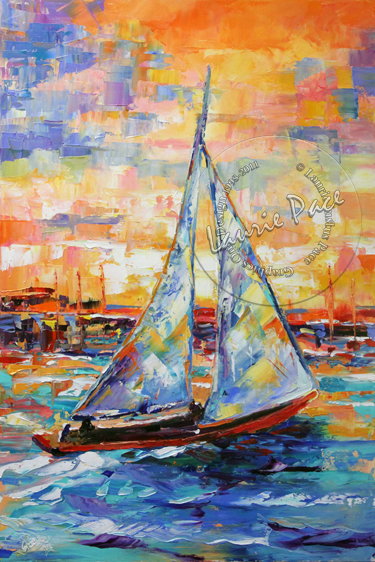 Knife Sailboat Painting by Texas Contemporary Artist Laurie Pace
