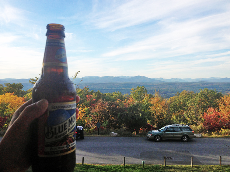 Blue Moon harvest pumpkin ale, seasonal beer, view of the Shawangunk mountains, fall colors, beautiful foliage, Mohonk Mountain House