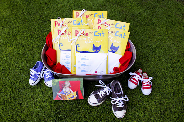 Pete the Cat birthday party based on Eric Litwin's book I Love My White Shoes and James Dean's Pete the Cat