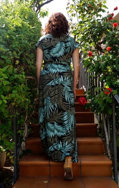 Vestido largo hojas tropical