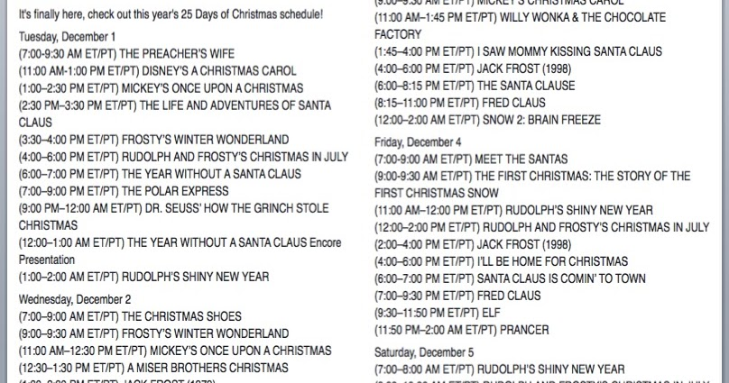 picture about Abc Family 25 Days of Christmas Printable Schedule called Very simple As Do-it-yourself: ABC Familys 25 Times of Xmas Printable