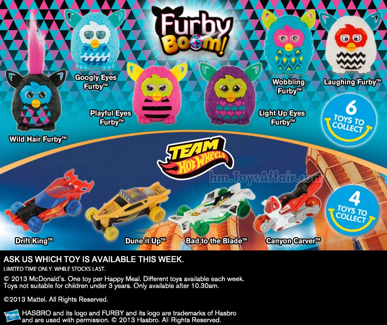 Mcdonald S Happy Meal Toys 2013 : Furby boom team hot wheels happy meal toys