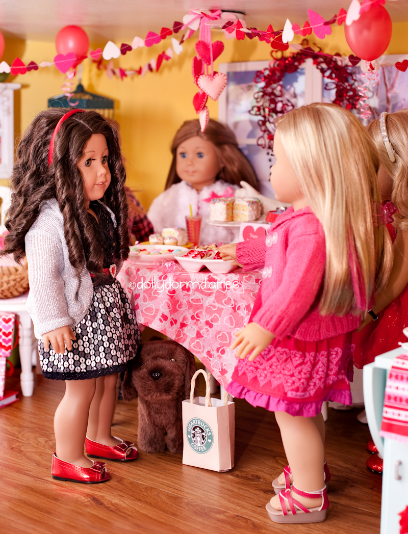 Our 18 inch Doll diaries about their Valentine's Day party at our American Girl Doll House. Visit our 18 inch dolls dollhouse!