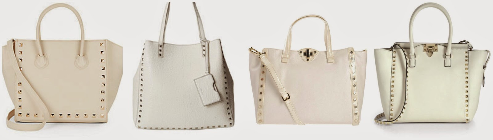 Valentino rockstud handbag and knockoffs for under $125 in cream, ivory and white