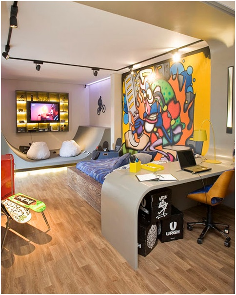 teenagers skate and graffiti enthusiasts bedroom decorating ideas