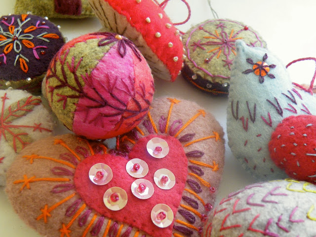 Felt decorations with hand embroidery