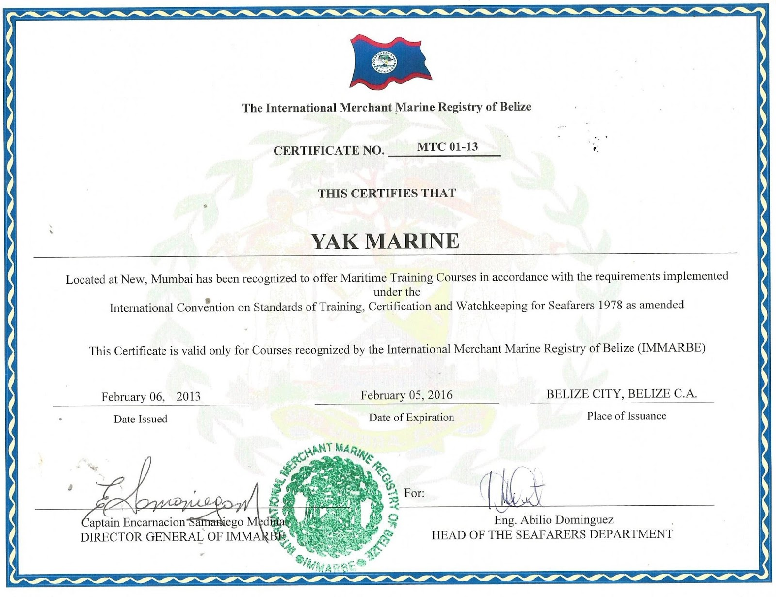 Certificate Of Competency Belize Coc