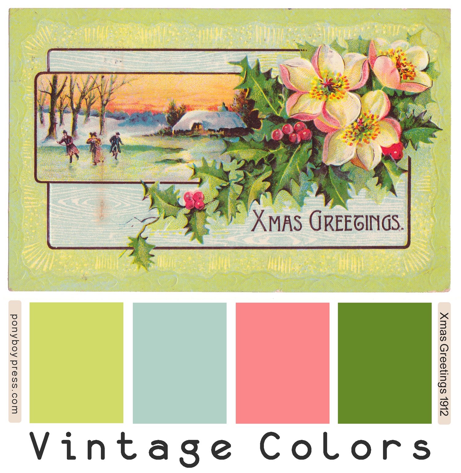 Xmas Greetings Vintage Color Palettes on Ponyboy Press Blog