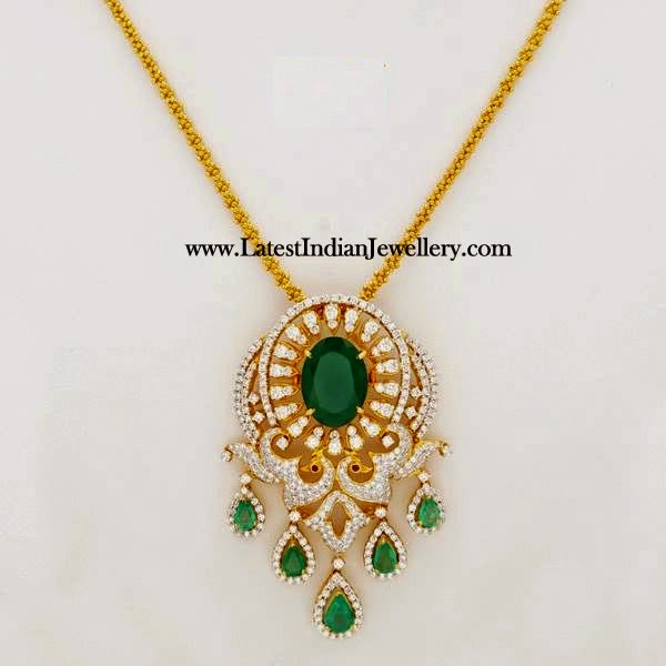 Dazzling Diamond Emerald Pendant