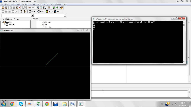 Bresenham Line Drawing Algorithm C Source Code : Computer graphics lab manual c programs