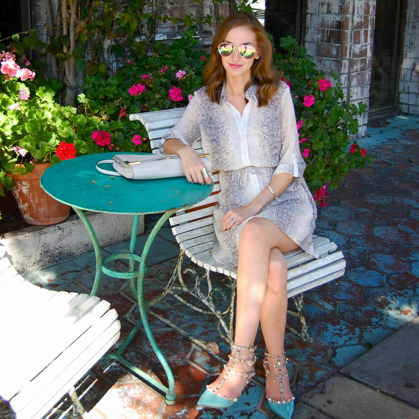 Mirrored Sunglasses, Old Navy shirt dress, Blue Valentino Rockstuds
