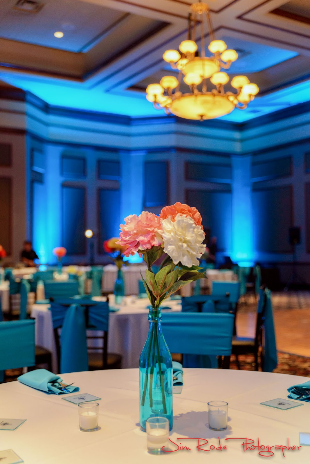 blue themed floral centerpiece Ruthe Jackson Center ballroom