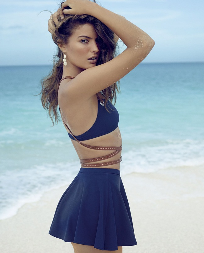 Michael Kors 2015 SS Navy Jersey-spandex Swimsuit Editorials