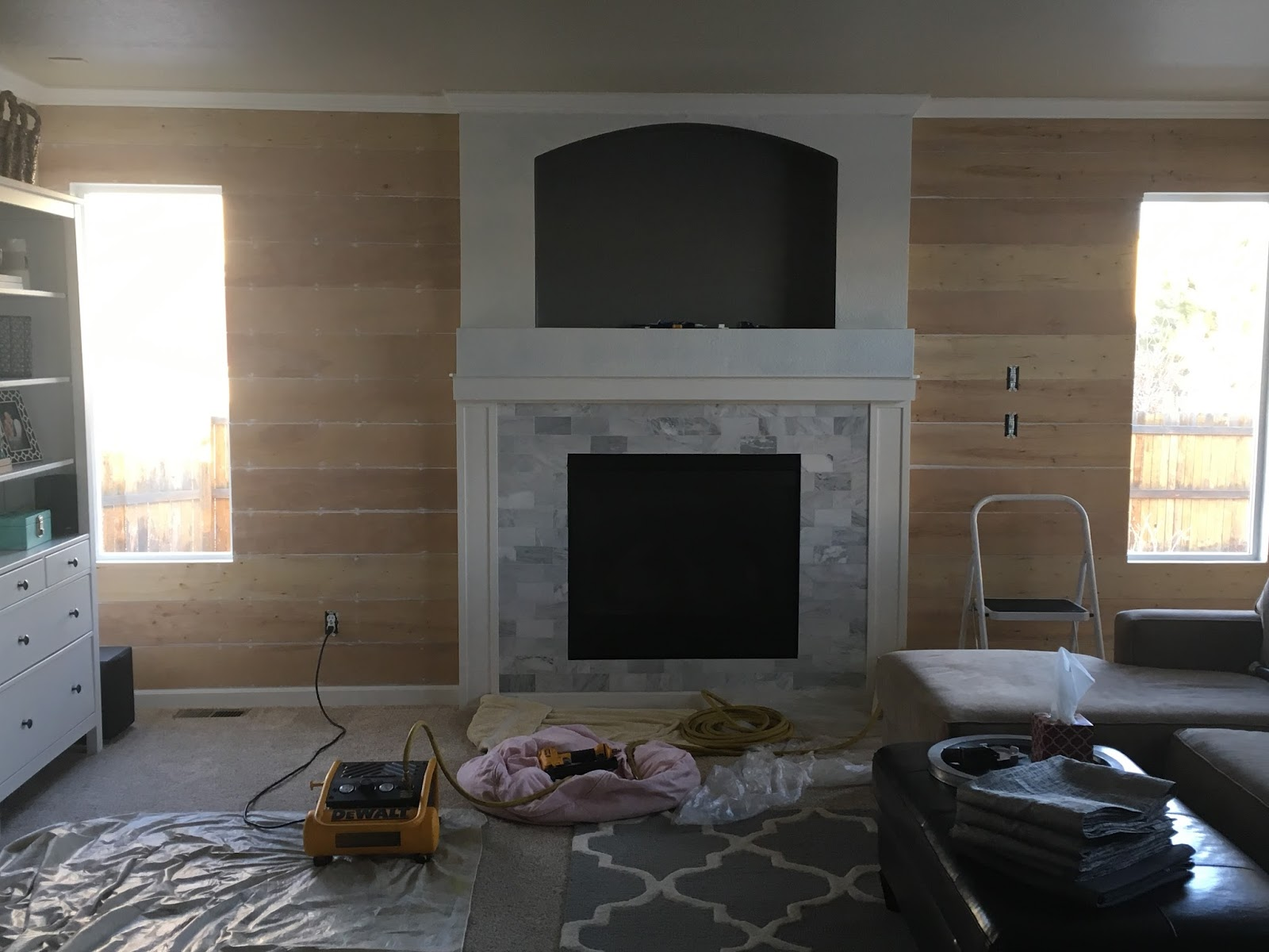 Just another day in paradise shiplap fireplace wall - Fire place walls ...
