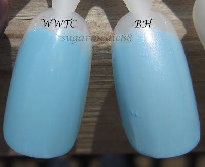 OPI What's With The Cattitude vs. Nubar Blue Hydrangea Comparison