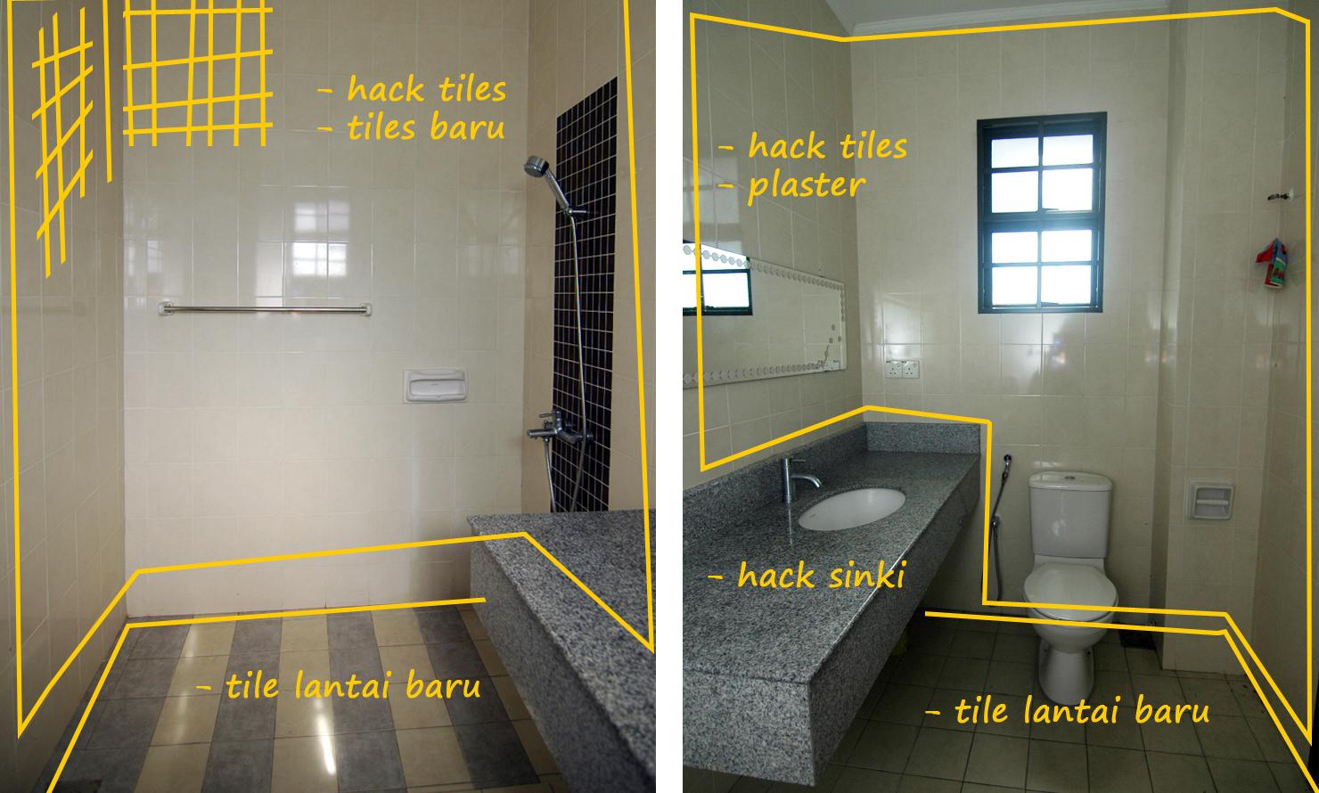 Untuk Bilik Air Tidur Utama Kaunter Sink Yang Besar Tu Perlu Digantikan Dengan Lebih Praktikal Kami Berdua