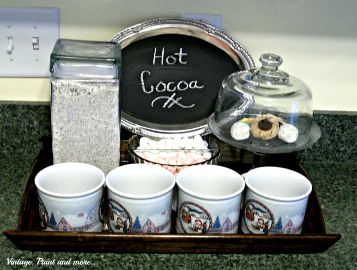 Vintage, Paint and more... cocoa bar with Dollar Store tray chalkboard sign, homemade hot cocoa mix