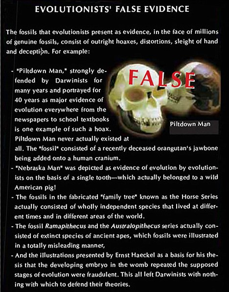 evolusionist false evidence