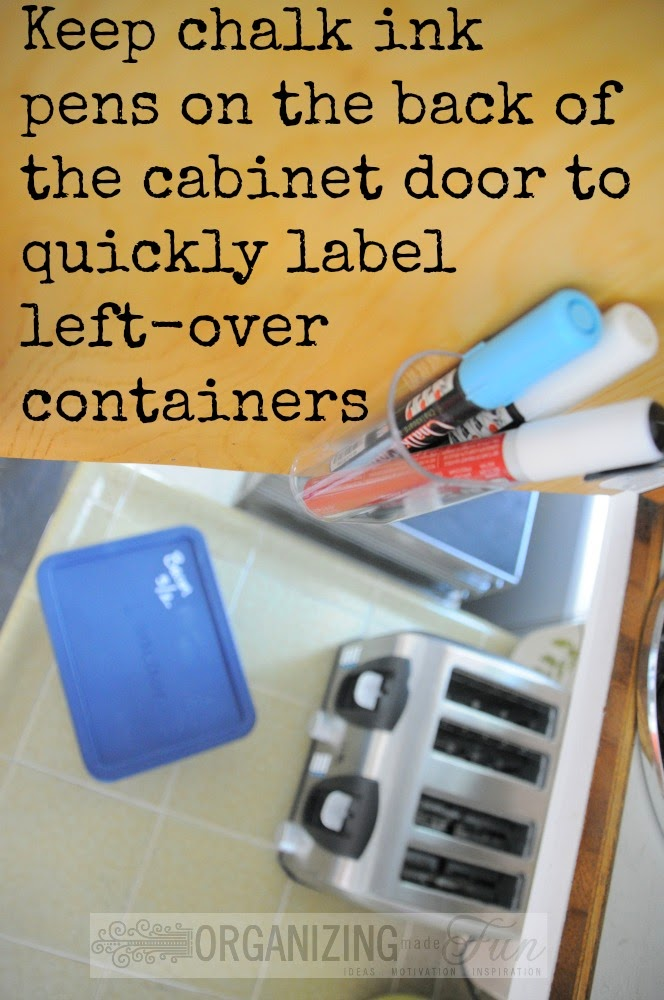 Keep chalk ink pens on the back of the cabinet door to quickly label left-over containers :: OrganizingMadeFun.com