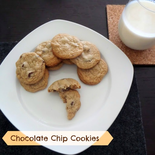 Chocolate Chip Cookies:  Soft and chewy cookies studded with semisweet chocolate chips