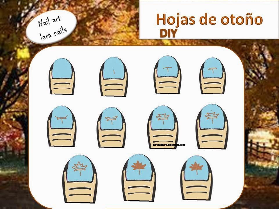 tutorial diseño de uñas de hojas de otoño , paso a paso, DIY lara nails