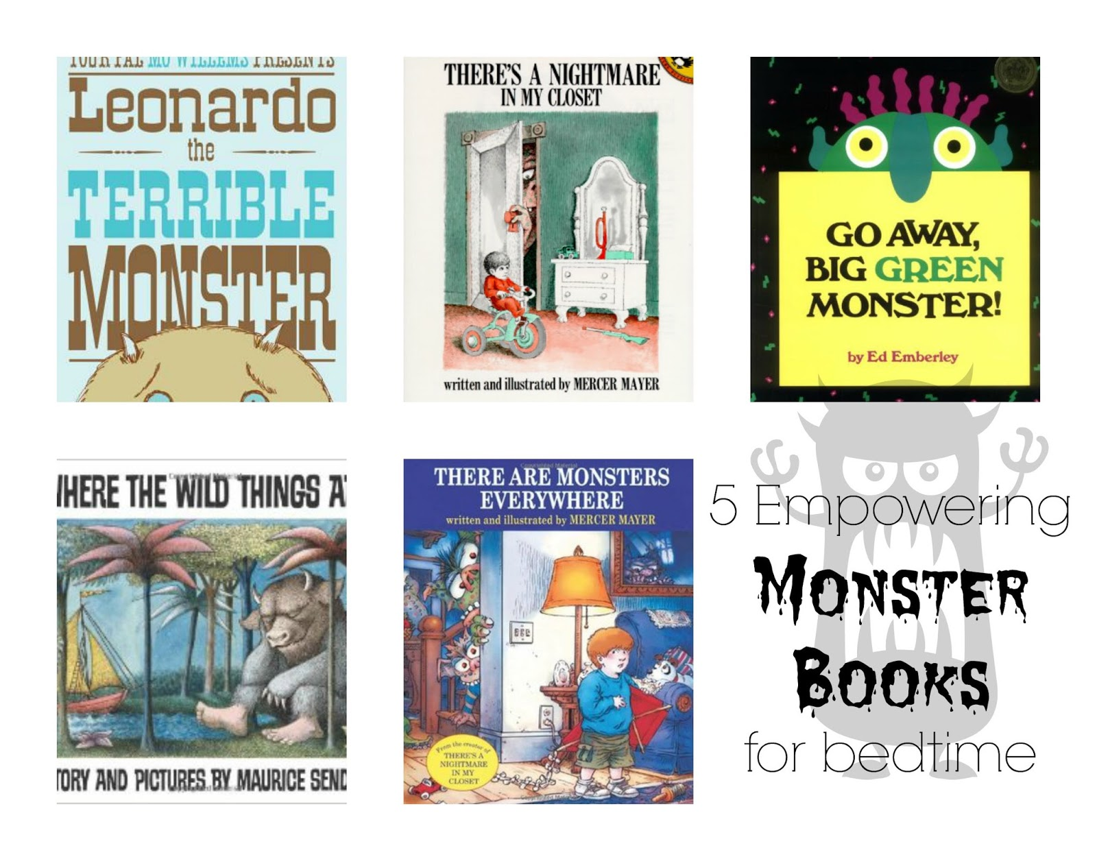 5 great bedtime books, perfect to read to a little one who is scared of monsters!