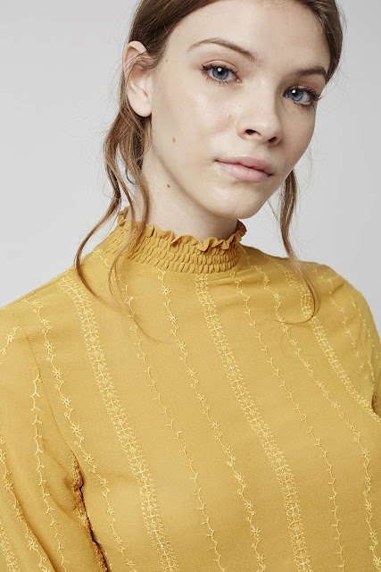 topshop mustard blouse, mustard blouse, high neck mustard blouse,