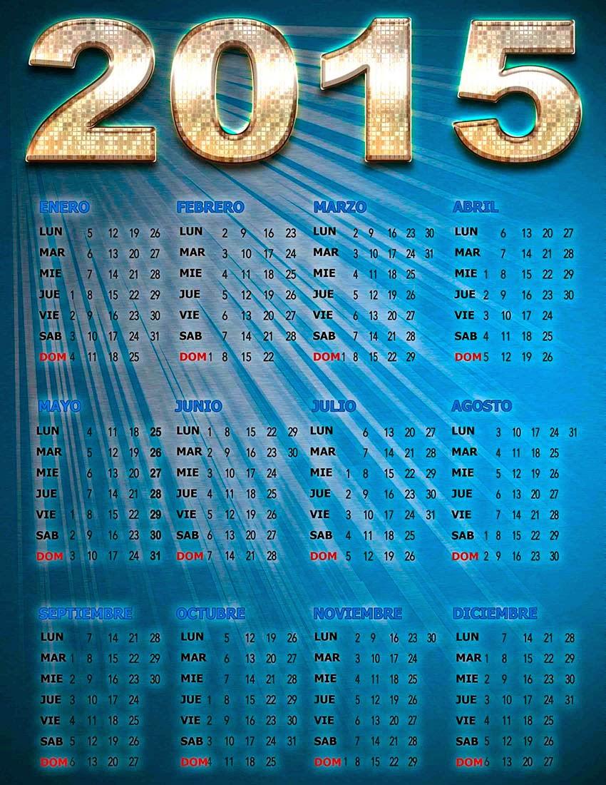 Placa metalica azul con calendario 2015 en español