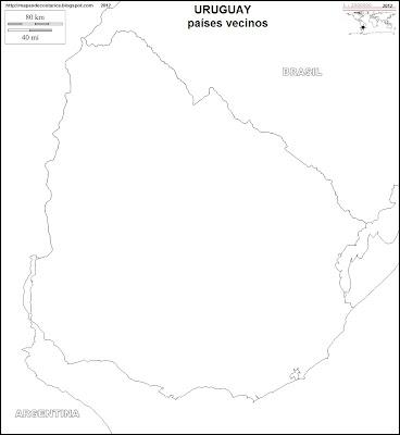 Mapa mudo de URUGUAY, paises vecinos