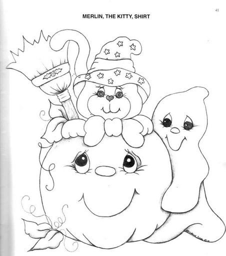 Tiernos dibujos de halloween para niños