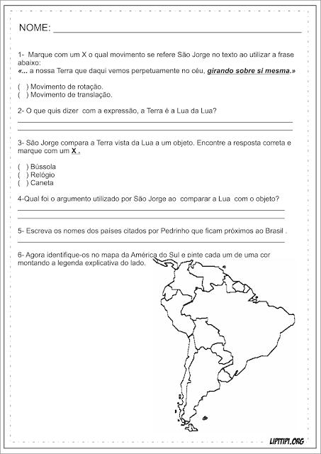 Atividade Geografia A Terra vista da Lua Monteiro Lobato
