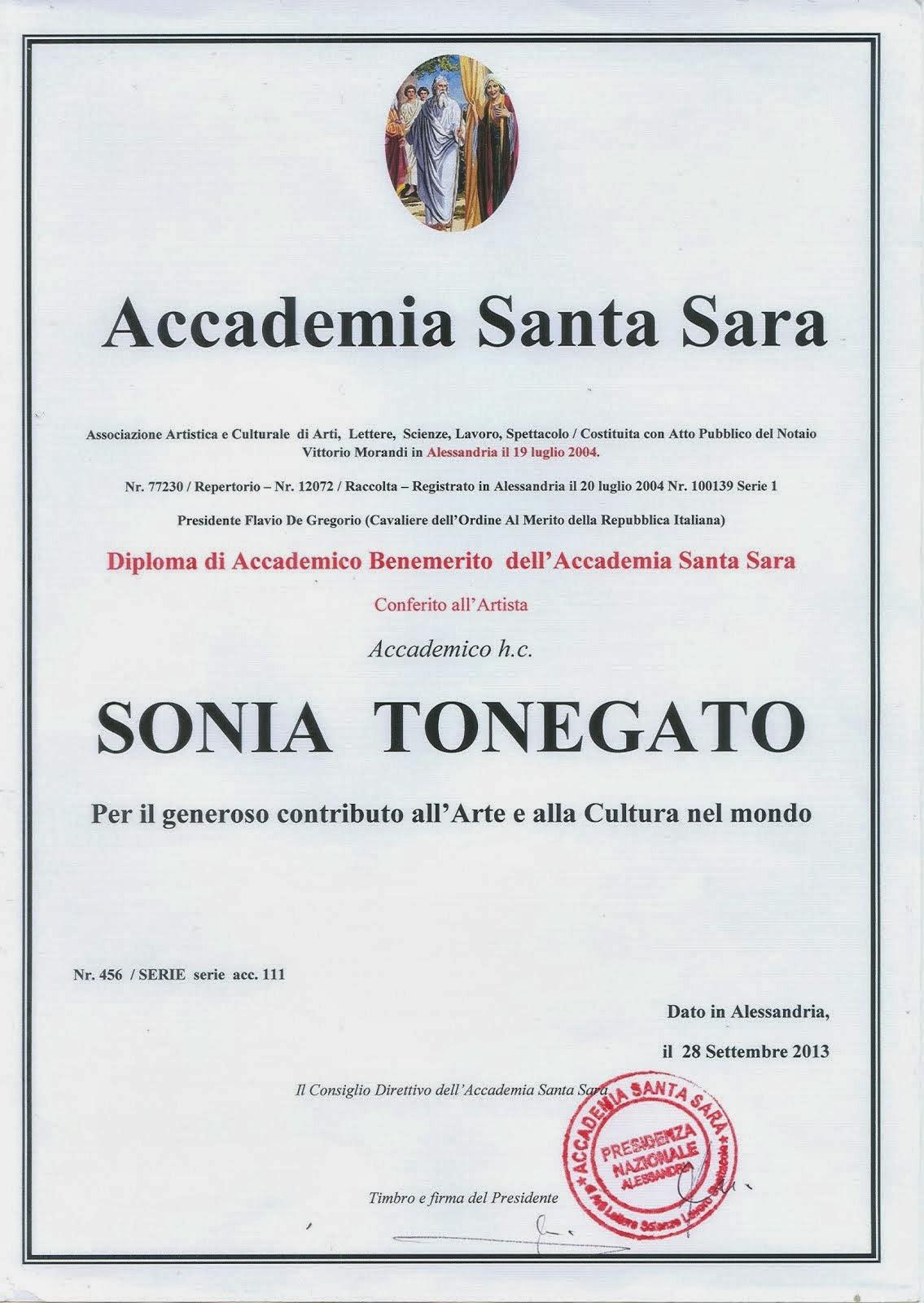 Anno 2013 - Diploma di Accademico Benemerito