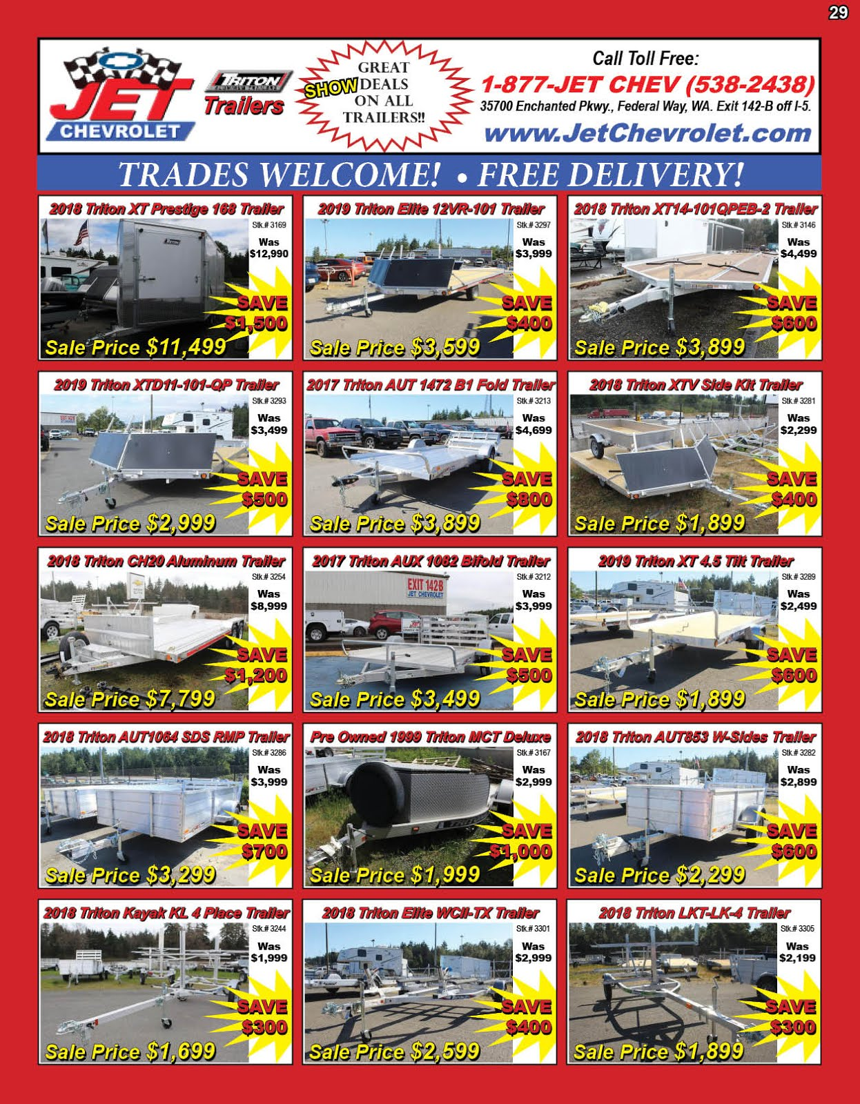 Jet Chevrolet Big Triton Trailers Sale!! Big Savings!!