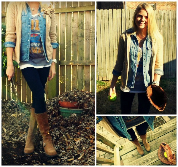 denim shirt worn casually, chambray with vintage t-shirt, denim and softball